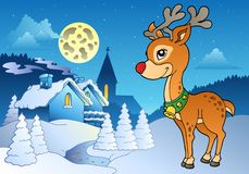 Young Christmas reindeer outdoor 2 Stock Image