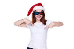 Young christmas woman in 3d glasses Stock Photo