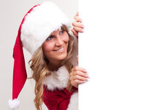 Young Christmas Woman on a copyspace label Stock Images