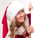 Young Christmas Woman on a copyspace label Stock Photo