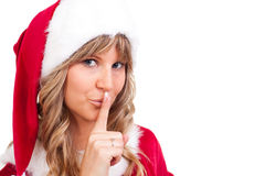 Young Christmas Woman is doing shh Royalty Free Stock Photo