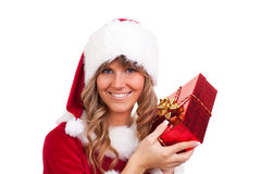 Young Christmas Woman with a present Royalty Free Stock Photos