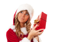 Young Christmas Woman with a present Royalty Free Stock Photography