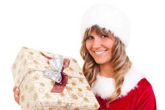 Young christmas woman with a present Stock Image