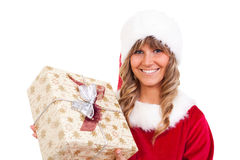 Young Christmas Woman with a present Stock Images