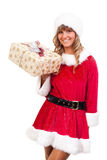 Young Christmas Woman with a present Stock Photo