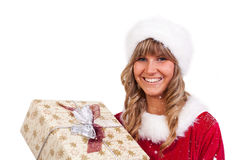 Young Christmas Woman with a present Royalty Free Stock Photo