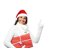 Young christmas woman showing copyspace Stock Photography