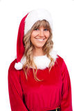 Young Christmas Woman is smiling. Young woman, dressed in a Christmas costume is smiling Stock Photography
