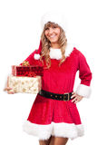 Young Christmas Woman with some presents Royalty Free Stock Photo