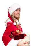 Young Christmas Woman with some presents Stock Photography