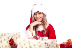 Young Christmas Woman with some presents Stock Images