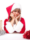 Young Christmas Woman with some presents. Sad Young woman, dressed in a Christmas costume with some xmas presents Stock Images