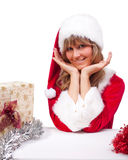 Young Christmas Woman with some presents Stock Image