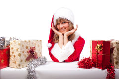 Young Christmas Woman with some presents Royalty Free Stock Image