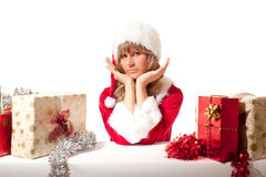 Young Christmas Woman with some xmas presents Stock Images