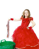 Young cinderella dressed in red with dirty cloth Royalty Free Stock Image