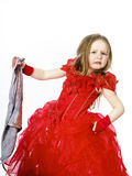 Young cinderella dressed in red with dirty cloth Stock Photos