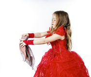 Young cinderella dressed in red with dirty cloth Royalty Free Stock Images