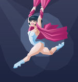 Young circus artist perform. Aerial silkrope stunt Stock Photography