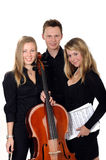 Young classic music trio. With cellist and two artists on white background stock photos