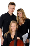 Young classical music team. With cellist, vocalist and pianist on white background royalty free stock image