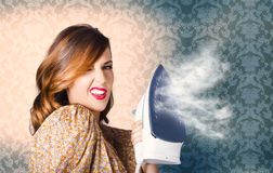 Young Cleaning Housewife With Hot Fashion Style Stock Image