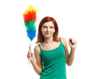 Young cleaning woman. Royalty Free Stock Photo