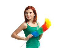 Young cleaning woman. Royalty Free Stock Images