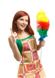 Young cleaning woman. Royalty Free Stock Image