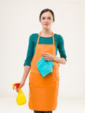 Young cleaning woman Royalty Free Stock Image