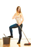 Young cleaning woman with mop and bucket Royalty Free Stock Images