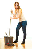 Young cleaning woman with mop and bucket Stock Images