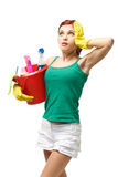 Young cleaning woman. Stock Photo