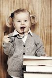 Young clever girl with books and glasses Royalty Free Stock Image