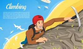 Young climber in protective helmet with Ice axe. Climbing a mountain. Activity Sport concept for poster. Tourist hiking. Background. Extreme risky adventure vector illustration