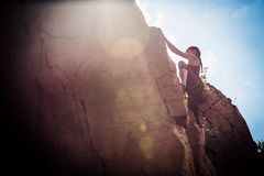 Free Young Climber Rock Climbing Royalty Free Stock Images - 108384149