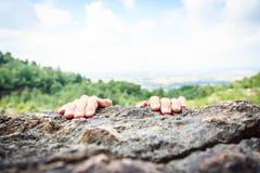 Young Climber Rock Climbing Stock Photo