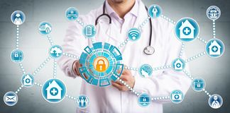 Free Young Clinician Securely Sharing Healthcare Data Royalty Free Stock Image - 152345306