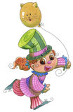 Young clown girl with cat balloon Royalty Free Stock Images