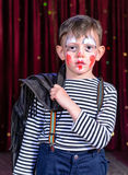 Young Clown Looking Sad on Stage Royalty Free Stock Photo