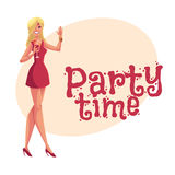 Young clubber girl in short dress drinking cocktail at party. Young clubber girl in short red dress drinking cocktail at party, cartoon style invitation Royalty Free Stock Image