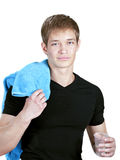 Young coach with towel Royalty Free Stock Image