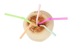 Young Coconut with Straws Stock Image