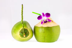 Young coconuts on white background. And reflection Stock Photos