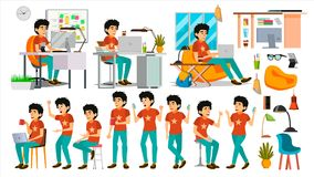 Young Coder Character Vector. Web Developer Programming. Coding, Software Development. Javascript. IT Startup Business. Junior Programmer Character Vector. Web royalty free illustration