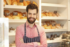 Young coffee shop owner royalty free stock photo