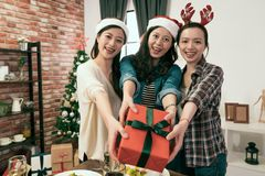 Colleague gathered together for Christmas dinner. Young colleague friends gathered together for Christmas dinner royalty free stock image