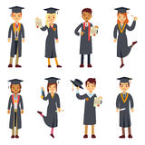 Young college graduate and university students vector characters set. People graduation school or college, illustration students graduate education Stock Photography