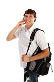 Young College Student on Cellphone Stock Photos